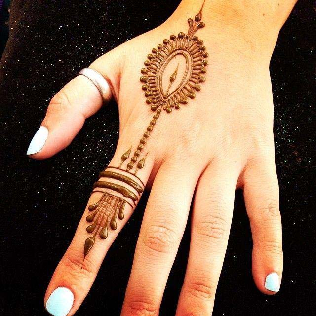Peacock-Feather mehndi design for finger