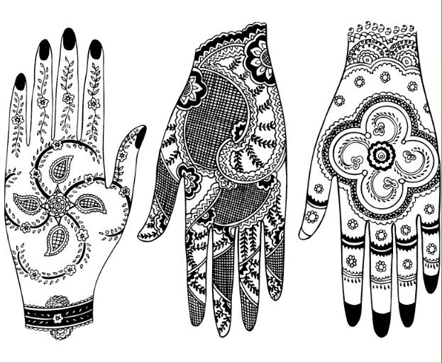 beautiful front hand and backhand mehndi design set