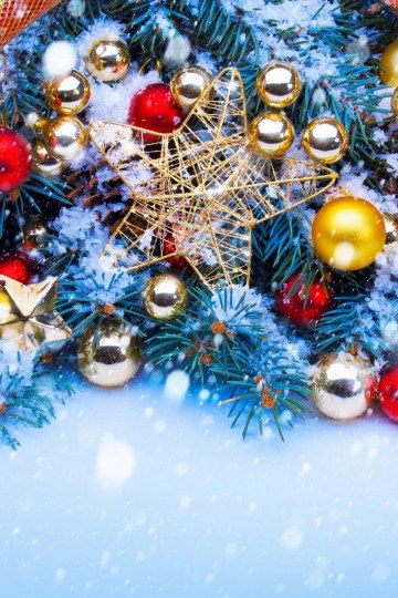 Christmas-Trees-Decorated-In-Red-And-Gold-wallpapers for Android _360x540