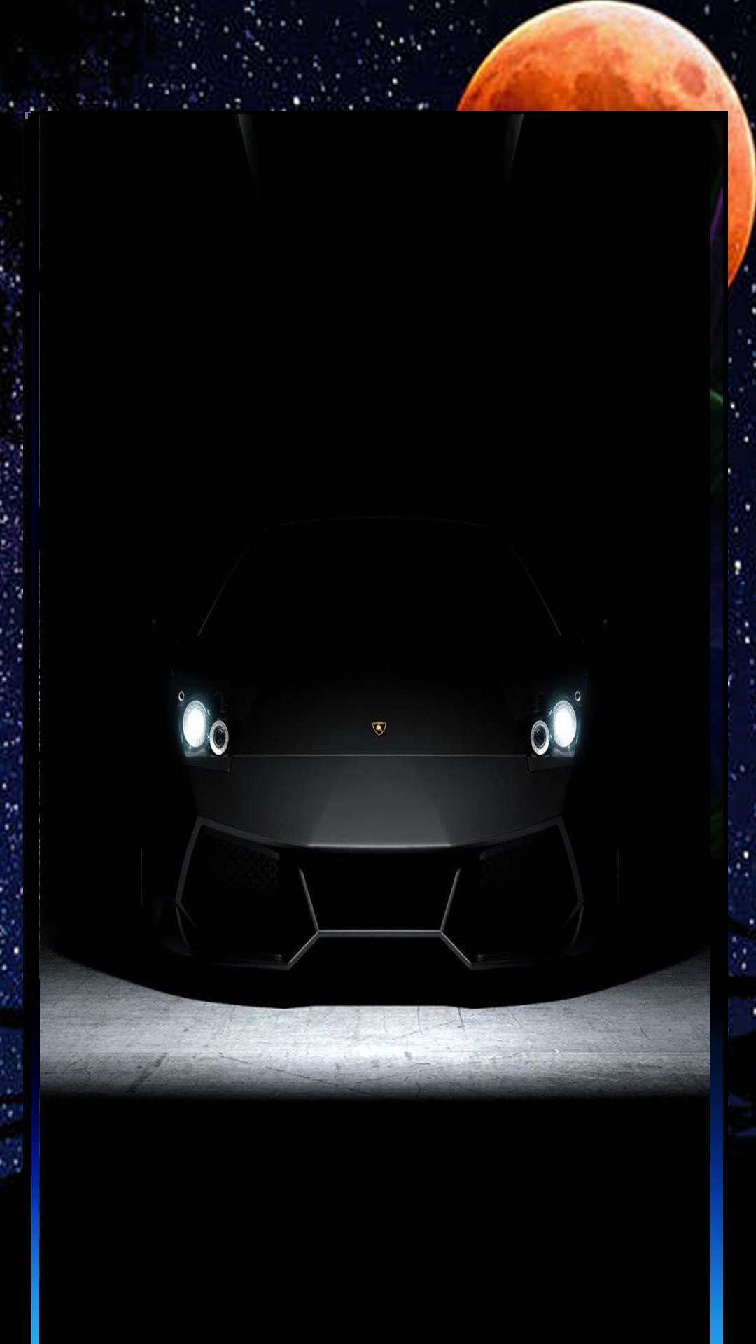 black car with on lights amazing view background for mobile